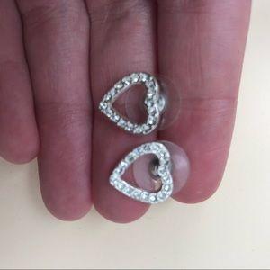 Rhinestoned Heart Earrings